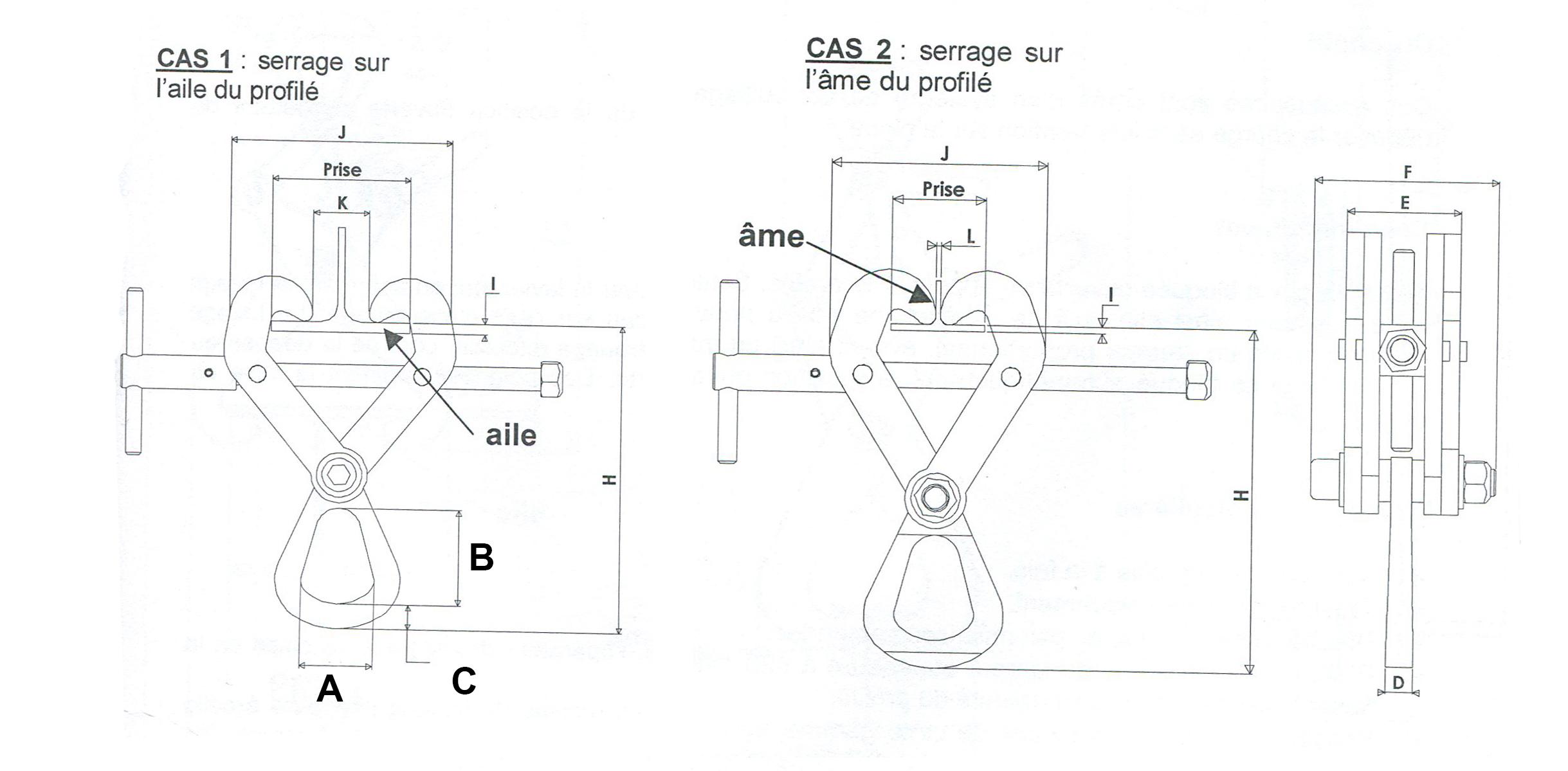 schéma griffes d'accrochage sur poutrelle