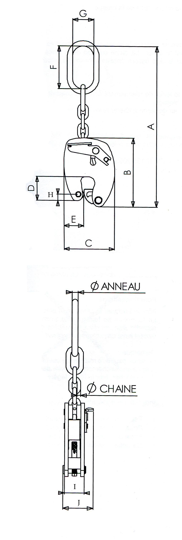 schéma pince lève tôle avec suspension à chaîne